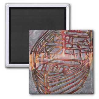 Small White Boat 2007 2 Inch Square Magnet