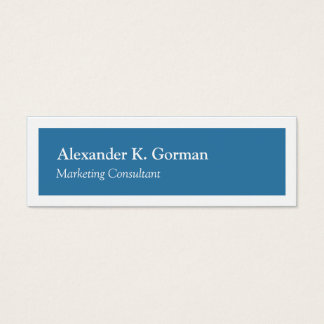Small white border solid colbalt blue classic mini business card