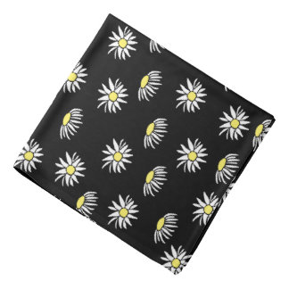 Small White Daisies on Black Bandana