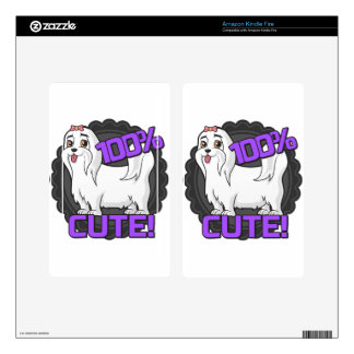 Small white dog - 100% cute! decals for kindle fire