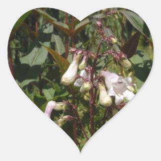 Small White Flower Heart Sticker