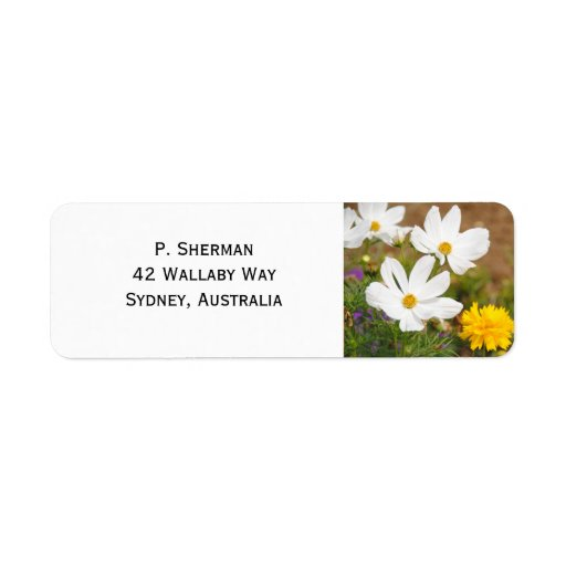 Small White Flowers Address Labels