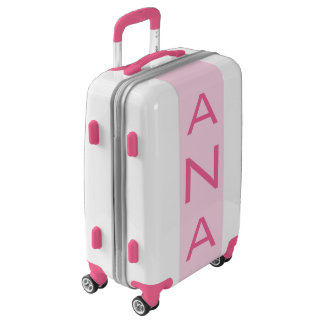 SMALL White + Light Pink Monogram Carry On Luggage
