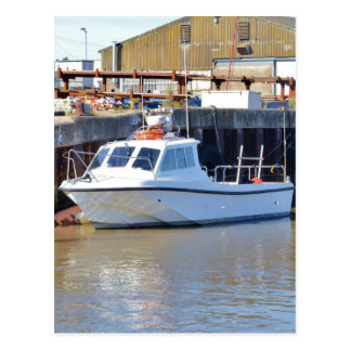 Small White Motorboat Postcard