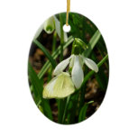 Small White on Snowdrop Spring Butterfly Ceramic Ornament