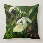 Small White on Snowdrop Spring Butterfly Throw Pillow