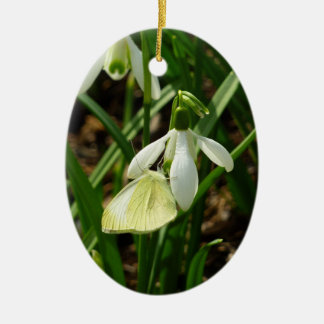 Small White on Snowdrop Spring Nature Photography Ceramic Ornament
