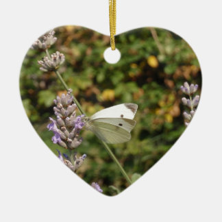 Small White Or Cabbage White Butterfly Ceramic Ornament