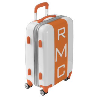 SMALL White + Orange Monogrammed Carry On Luggage