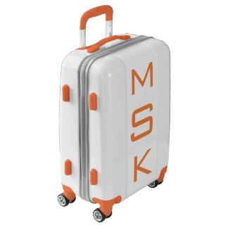 SMALL White+Orange Personalized Monogram Carry On Luggage