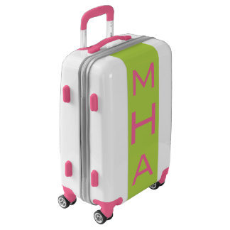 SMALL White+Pink+Lime Monogram Carry On Luggage