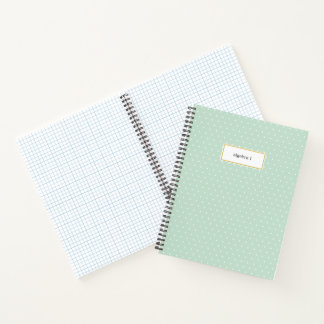 Small White Polka Dot on Mint Green Subject Notebook