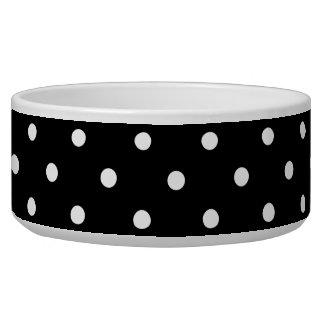 Small White Polka dots black background Bowl