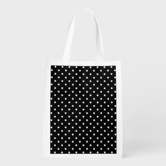 Small White Polka dots black background Grocery Bag