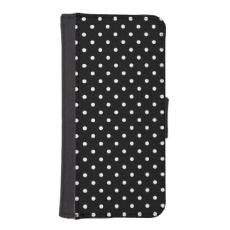 Small White Polka dots black background iPhone SE/5/5s Wallet Case