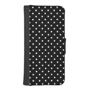 8e1e3aef1809 Small White Polka dots black background iPhone SE 5 5s Wallet Case