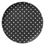 Small White Polka dots black background Dinner Plates