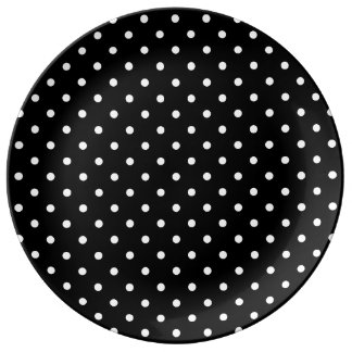 Small White Polka dots black background Porcelain Plate