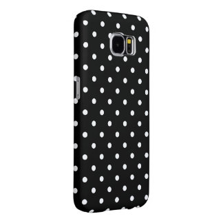 Small White Polka dots black background Samsung Galaxy S6 Case