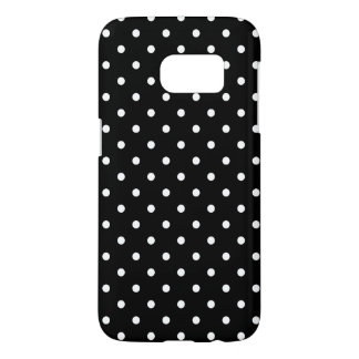 Small White Polka dots black background Samsung Galaxy S7 Case