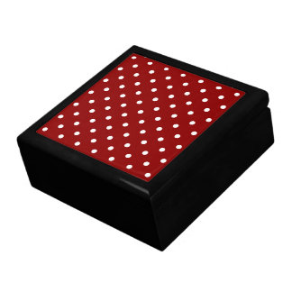 Small White Polka dots cherry red background Gift Box