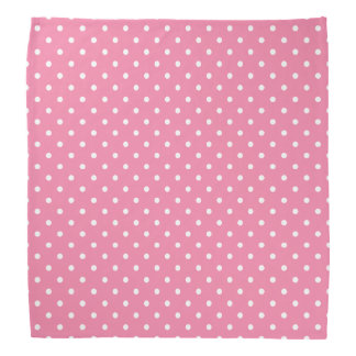 Small White Polka Dots on hot pink Bandana