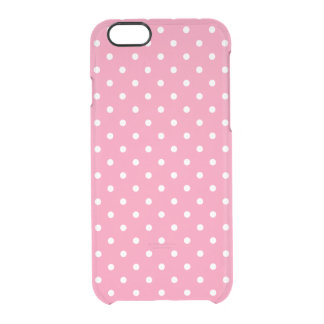 Small White Polka Dots on hot pink Clear iPhone 6/6S Case