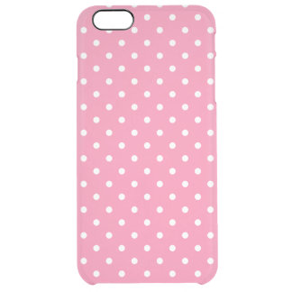 Small White Polka Dots on hot pink Clear iPhone 6 Plus Case
