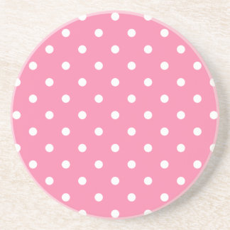 Small White Polka Dots on hot pink Coaster