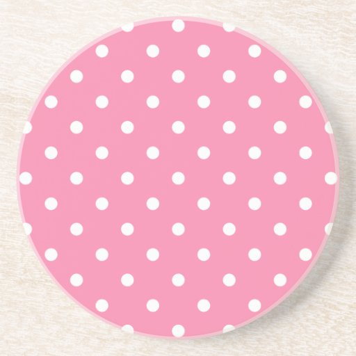 Small White Polka Dots on hot pink Coaster