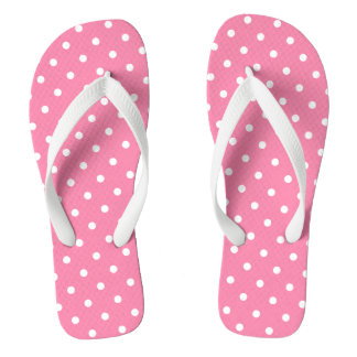 Small White Polka Dots on hot pink Flip Flops