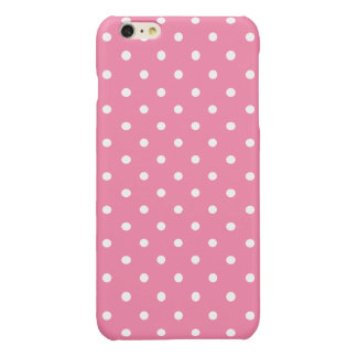 Small White Polka Dots on hot pink Glossy iPhone 6 Plus Case