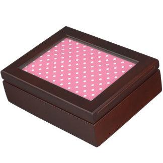 Small White Polka Dots on hot pink Keepsake Box