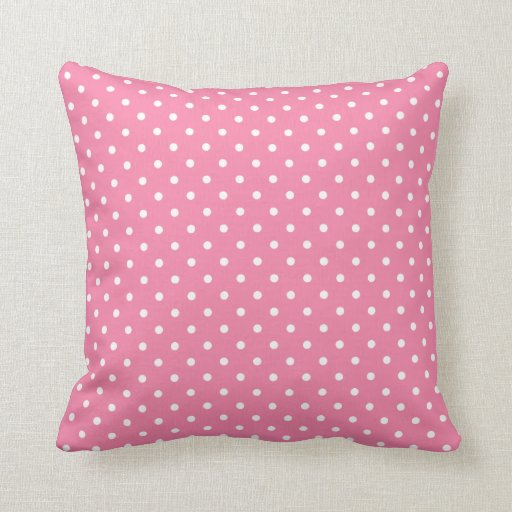 small white polka dots on hot pink throw pillow zazzle