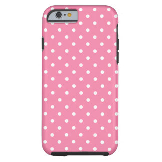 Small White Polka Dots on hot pink Tough iPhone 6 Case