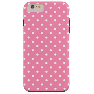 Small White Polka Dots on hot pink Tough iPhone 6 Plus Case