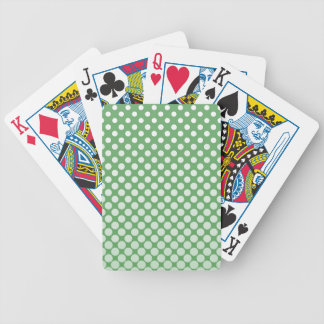 Small white polka dots on lime green bicycle playing cards