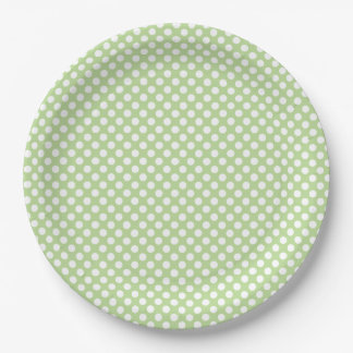 Small White Polka Dots on Mint Green Paper Plate