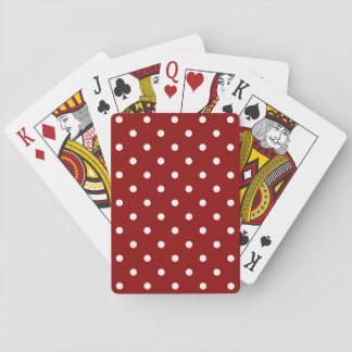 Small White Polka dots red background Poker Deck