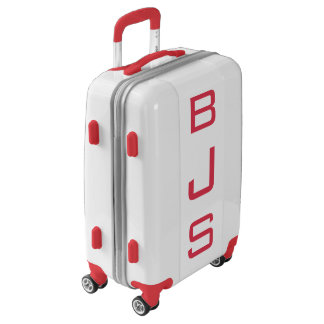 SMALL White + Red Personalized Monogram Carry On Luggage
