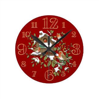 Small Winter Robin Bird House Wall Clock