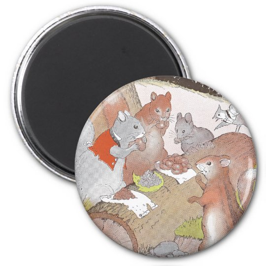 Small Woodland Animals Share a Feast 2 Inch Round Magnet