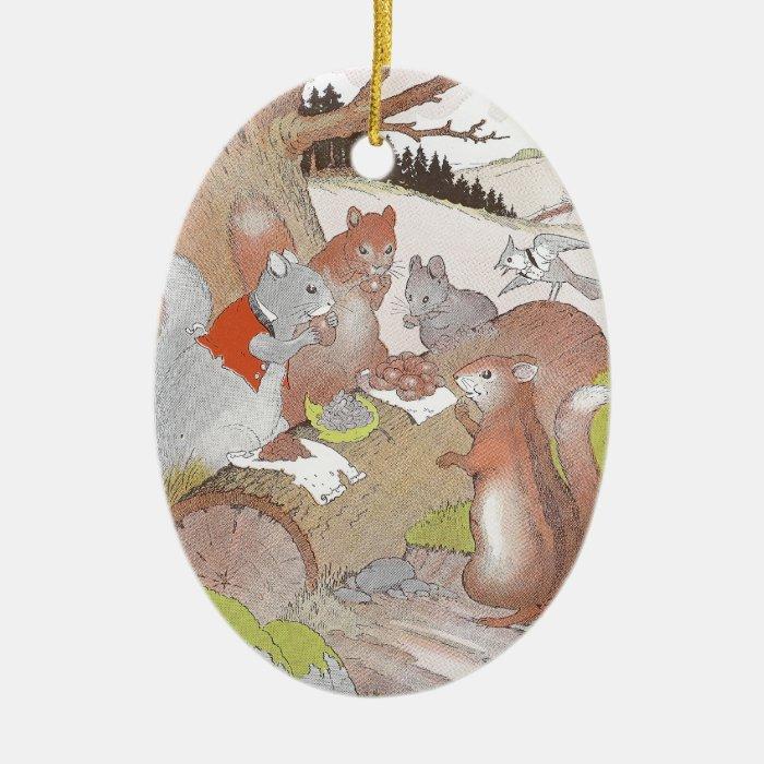 Small Woodland Animals Share a Feast Ceramic Ornament
