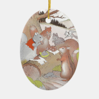 Small Woodland Animals Share a Feast Ornaments