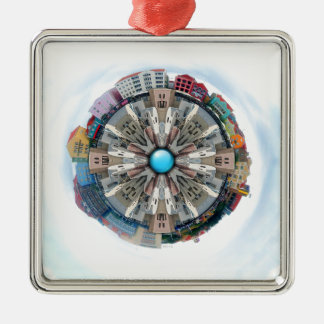 Small World In The Clouds Metal Ornament