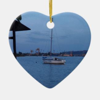 Small Yacht Anchored In The Black Sea Ceramic Ornament