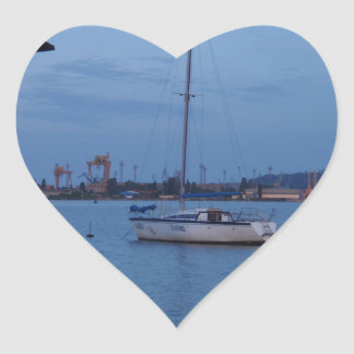 Small Yacht Anchored In The Black Sea Heart Sticker