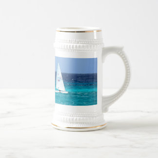 Small Yacht at Sea Beer Stein