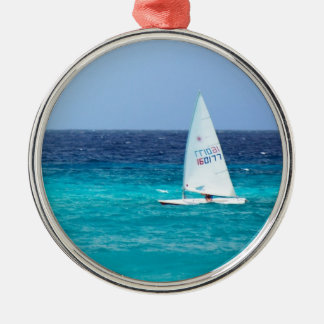 Small Yacht at Sea Ornament