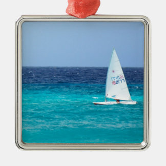 Small Yacht at Sea Christmas Ornaments